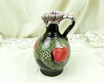 Vintage French Retro Vase Jug  / MidCentury /  Home Interior / European Ceramic / Hipster Decorating / 1960 / 1950 / Glaze / Gift Floral