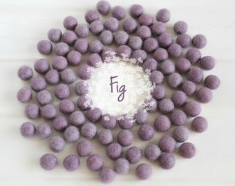 Wool Felt Balls - Size, Approx. 2CM - (18 - 20mm) - 25 Felt Balls Pack - Color Fig-3043 - Smokey Lilac Poms - Fig color Felt Balls - Pom pom