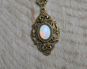 White opal glass opalite necklace, antique brass victorian necklace, victorian jewelry, glass opal jewelry