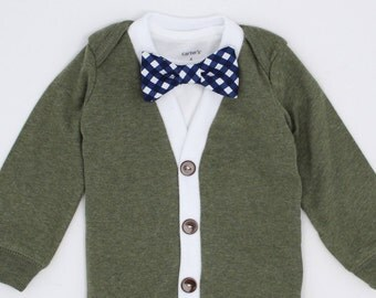Cardigan Onesie and Bow Tie Set - Green with Navy Gingham - Trendy Baby Boy