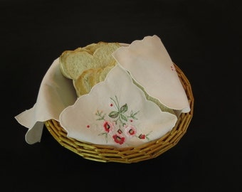 Embroidered Bread Basket Liner, Bread Cosy