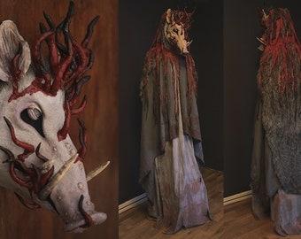 Creepy Boar Costume & Mask - Inspired by Lord Okkoto, Princess Mononoke - Hand made, Paper clay