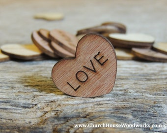 "100 Love 1"" Wood Hearts, Wood Confetti Engraved Love Hearts- Rustic Wedding Decor- Table Decorations- Small Wooden Hearts"