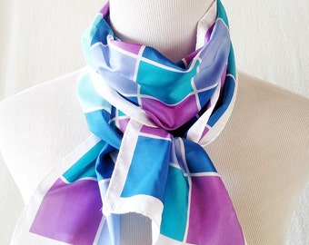 Vintage Geometric Purple Teal and Blue Ombre Grid Long Scarf