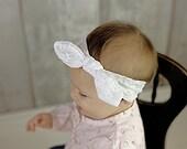 White Lace Knot head wrap headband, bow headwrap, turban boho, baby girls