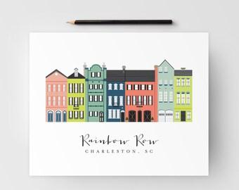 Rainbow Row Charleston 8x10 Print; Charleston, SC Art Print