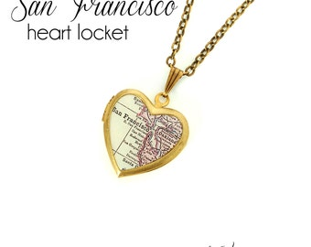 San Francisco Map Heart Locket Necklace, California, Bay Area, Oakland, Antique Map Jewelry, Vintage Brass Locket, SF Bay, Gift for Her