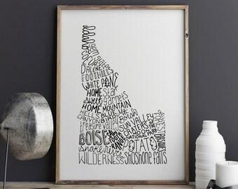 State of Idaho Typography Print; Wall Decor; Christmas Gift; Wall Art; Wedding Anniversary Engagement Graduation Gift Decor