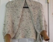 Sweater Shrug Hand Crocheted Beige With Brown Trim Fall Winter Boho Hippie Fashion