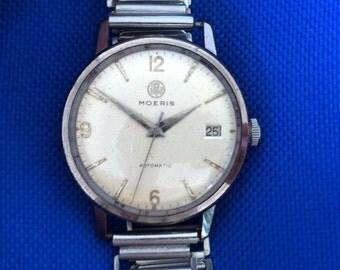 Moeris Automatic Swiss Watch, Date Window, Stainless Steel Case, Vintage Men's Watch, Mid Century Modern, Working Great, Free Shipping