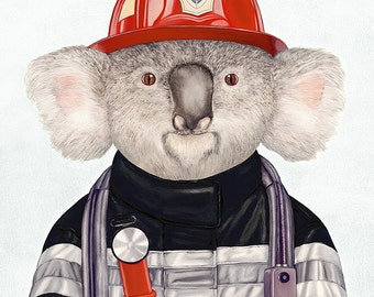 Koala Firefighter Art Print, Fire Fighter decor,