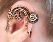 Copper Cogs Steampunk Wire Ear Wrap - Left Ear