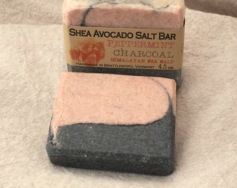 Cold Process Soap SHEA AVOCADO OLIVE Peppermint Himalayan Pink Sea Salt Charcoal Spa Detox Bar All Natural Made in Vermont