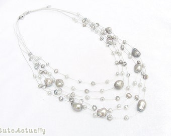 Silver gray freshwater pearl necklace with crystal on silk thread, Multistrand necklace