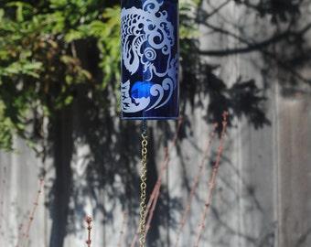 Fish Wine Bottle Windchime - Chime Repurposed Windcatcher Bottle Etching Rememberance Wedding Shower Outdoor Decor