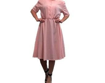 Pink Dress/ Light Pink and White Polka Dot Dress with Pearl Buttons/ Polka dots/ White Polka Dots/ Light Pink Dress/ Vintage Dress/ Pin Up