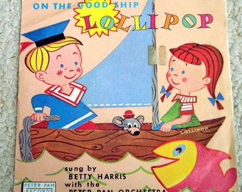 On the Good Ship Lollipop, Children's 45 RPM from 60s,  Vintage Vinyl Record