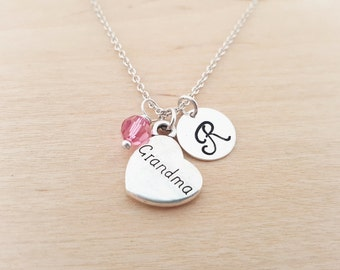 Grandma Necklace - Family Necklace -  Initial Necklace - Personalized Jewelry - Birthstone Necklace - Gift for Her - Grandmother Gift