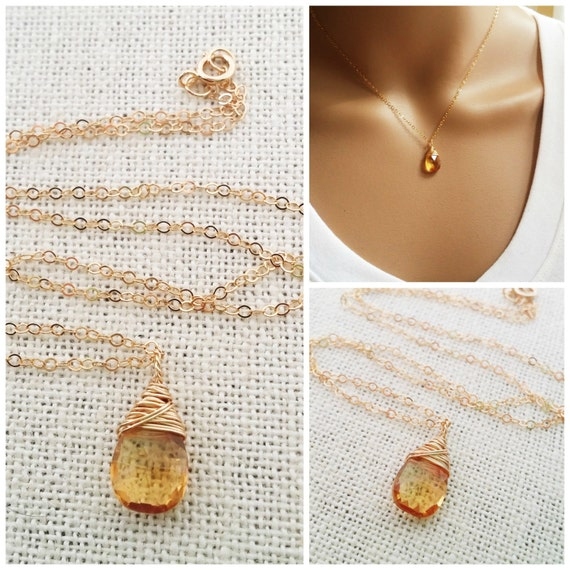 Citrine Necklace - November Birthstone - Dainty Drop Necklace - 14k Gold Fill Necklace - Gemstone Briolette Necklace - Gift for Her