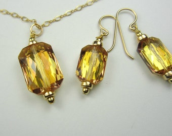 Swarovski Citrine Crystal Jewelry, Necklace Earrings Set, Emerald Cut, 14k Gold Filled, Citrine Necklace, Citrine Earrings, Gold Jewelry