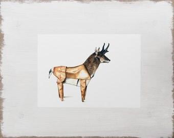 Origami Animal Print -- Deer Print // Woodland Animal illustration