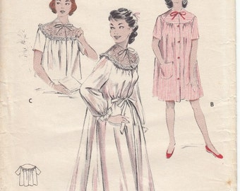 50's Housecoat House Dress Bed Jacket Peigoir Pattern Size 14 Bust 32 Vintage Butterick 6997 Sewing Pattern Complete