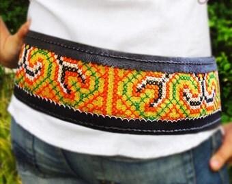 Handmade Ajustable Brown Leather Tribal Belt, Brown Leather Belt, Boho Belt, Hmong Belt, Hippie Belt, Gypsy Belt, Festival Belt, Tribal Belt