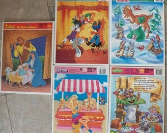 Lot of 5 Vintage Frame-Tray Puzzles~Barbie/Rudolph/Bugs Bunny/Nativity++ Golden