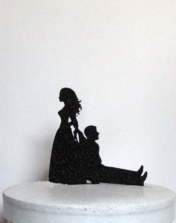 bride dragging groom wedding cake toppers and unique wedding cake topper by plasticsmith 12132
