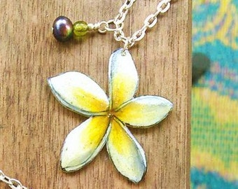 Plumeria Necklace - White and Yellow -Tropical Flower