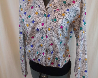 "Vintage 80s Abstract Art Blouse Top M 38"" Bust"