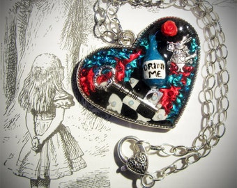 Alice's Drink Me Large Heart Pendant ~~ Alice in Wonderland, key, white rabbit, drink me bottle, mixed media collage, wearable art