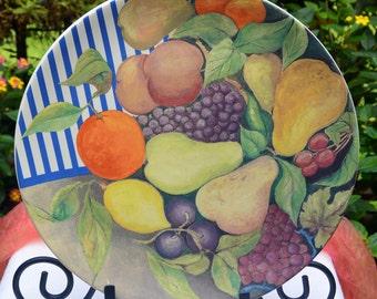 French Cake Plate/Serving Platter- Gien La Ronde Des Fruits, Porcelain, Orig 115 - Vintage -Stunning!