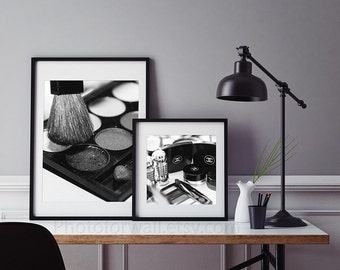 Chanel Makeup print Bathroom wall Decor Set of 2 black and white Photography, Bathroom Art, Bathroom set, makeup brushes , bathroom wall art