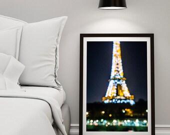 Paris photography at sunset, Eiffel Tower, bokeh photography, paris skyline, paris decor, home decor, paris wall art, red bathroom art