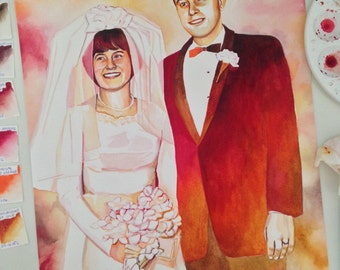 50th ANNIVERSARY GIFT idea for GRANDPARENTS parents in-laws, special gift, custom portrait painting, grandparents gift, parents gift, 40th