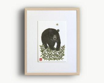 Bear Wall Prints, Moon Bear Artwork, Woodland Animal, Forest Friend Art, Bear Art