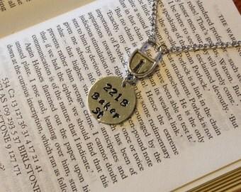 Sherlock Holmes 221B Baker Street fandom necklace - Stardust Trinkets - gifts under 25 dollars