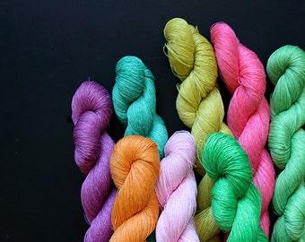 Set of 8 linen skeins -pink, gree, purple, orange
