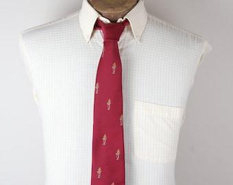 1980s Canterbury Belts Ltd Brand Promo Bengal Soldier Mascot Burgundy Tie Necktie