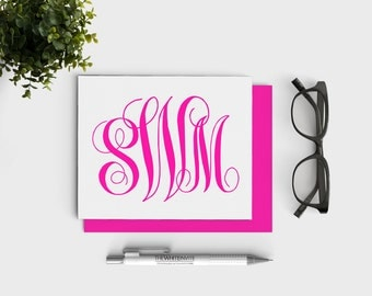 "Personalized Notecards Custom Monogrammed Stationary 5.5"" x 4.25"" - Pink Personalized Stationery"