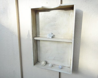 Vintage Up Cycled Wooden Letter Tray Box Shelf in Soft Antique White with Two Shelves