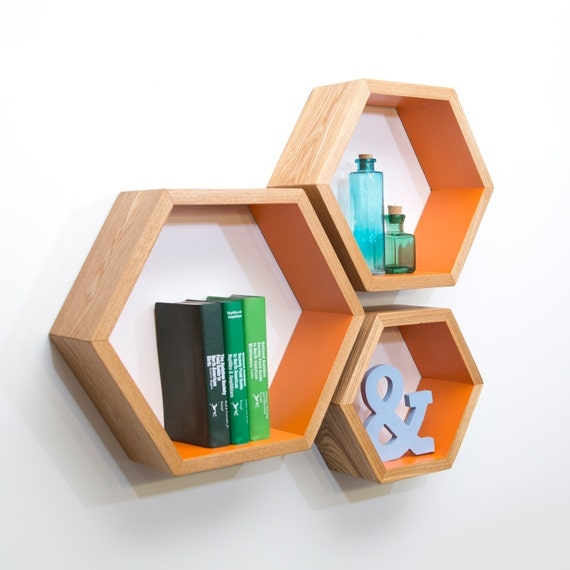 Nesting Honeycomb Shelves Modular Hexagon Wall By