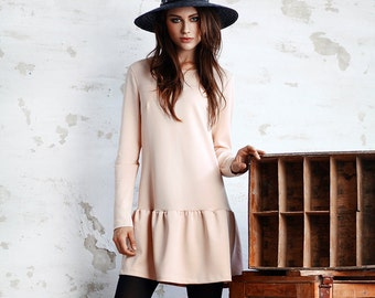 Dress / fashion designer / pastel pink / rose quartz / party / autumn / long sleeve / falbala / furbelow