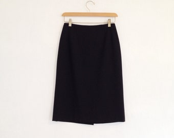 black pencil skirt / small black skirt / black short skirt / knee length / 90s minimalist clothing