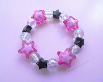 Bright Pink and Black Crystal Star Bracelet-Kawaii- Pastel Goth- Gothic Lolita- Sweet Lolita-JFashion- Harajuku- Fairy Kei- Creepy Cute