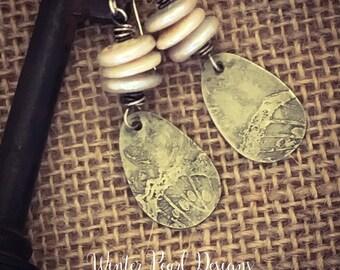 Freshwater Pearls/Coin Pearls/Teardrop/Beach/Boho/Artisan Etched Earrings by Winter Pearl Designs