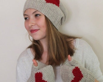 VALENTINES DAY Gift İdeas! FAST Shipping. Gift for her.Heart beige hat, chunky beige hat, beige tam women, knitting hat, wool  hat.