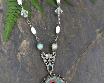 Vintage Redux - Floral Micromosaic Italy Pendant Necklace