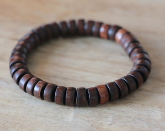 Cylinder Men's Beaded Bracelet Brown Wood